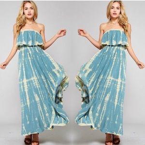 JENNI Tie Dye blue and white maxi dress strapless
